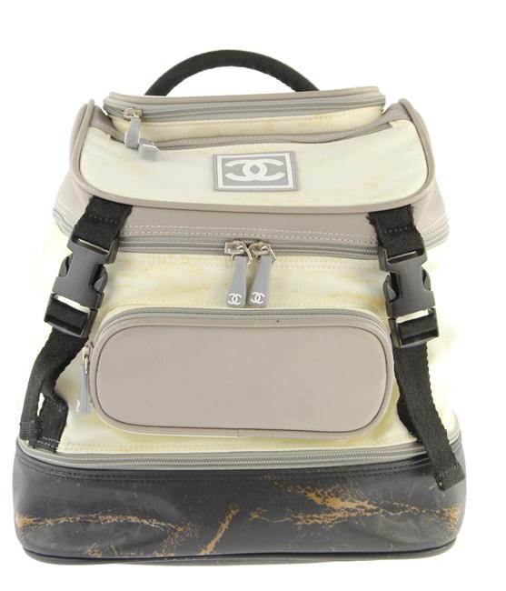 Item - Sport White Grey and Black Canvas Backpack