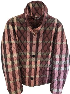 Burberry London Quilted Plaid Unique Red Jacket