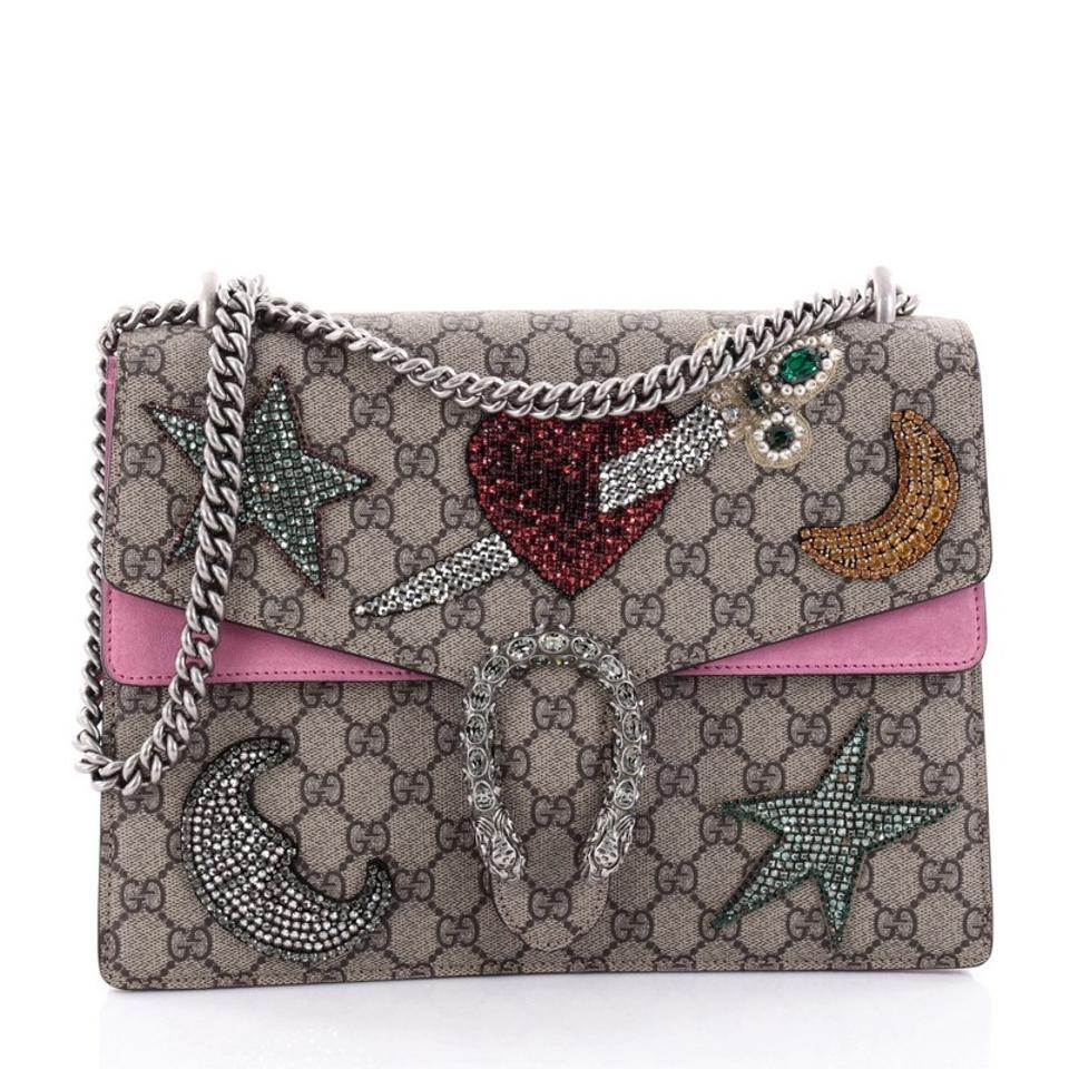 cc1f58ba1e6 Gucci Dionysus Handbag Sequin Embellished Gg Coated Medium Brown Canvas  Shoulder Bag