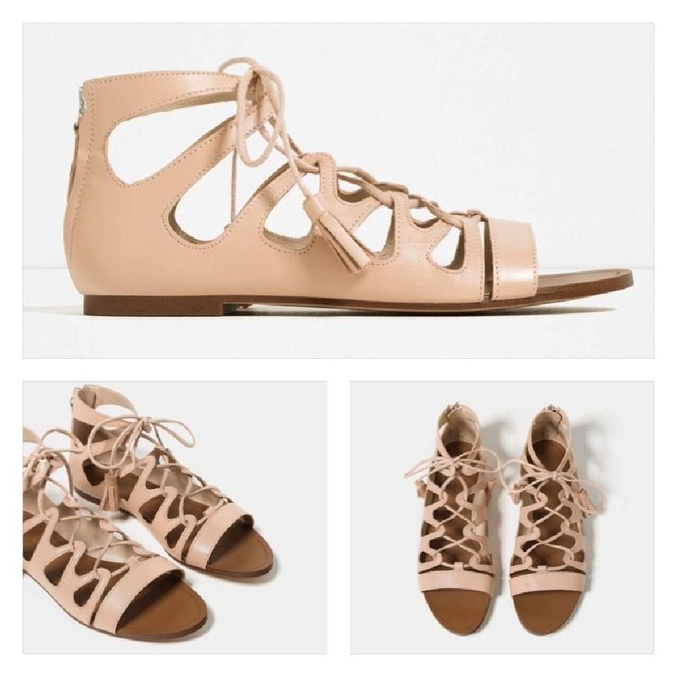 4d655cdfb274 Zara Flats Summer Gladiator Lace Up Nude Sandals Image 8. 123456789