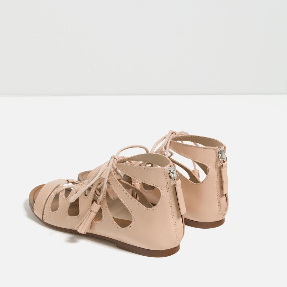 92a6829c49a0 Zara Flats Summer Gladiator Lace Up Nude Sandals Image 8. 123456789