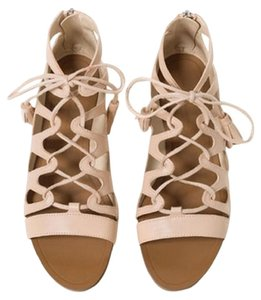 Zara Flats Summer Gladiator Lace Up Nude Sandals