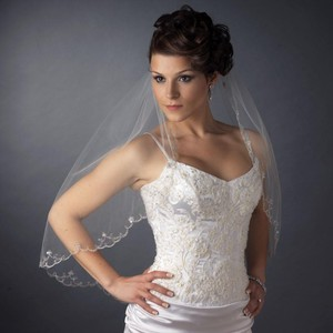 Elegance by Carbonneau Ivory/Silver Medium Single Layer Elbow Length Scalloped Edge with Stitching Sequin Bridal Veil