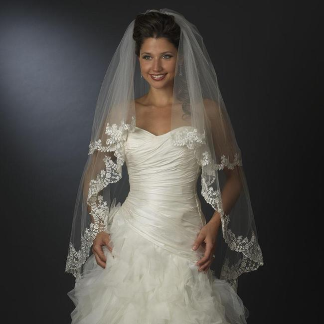 Item - Ivory Long Floral Embroidered Double Layer Edge Fingertip Waltz Length Bridal Veil