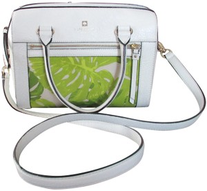 Kate Spade Leather Fabric Floral Design Satchel in Off White & Lime Green