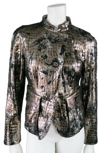 Giorgio Armani Floral Metallic Leather Silver Leather Jacket