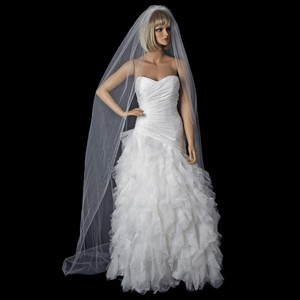 Elegance by Carbonneau Ivory Long Fine Single Tier Cathedral Length Bridal Veil