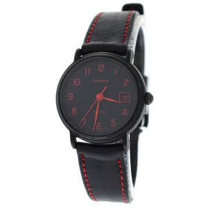 Tourneau Authentic Ladies Tourneau Black PVD Quartz Date Red Numerals 25MM