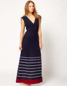 Blue with red and white stripes Maxi Dress by French Connection