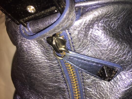 Betsey Johnson Studded Leather Satchel in Metalic Blue