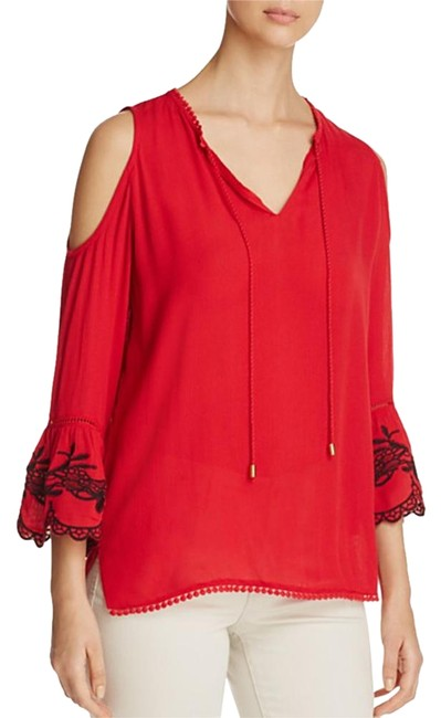 Item - Red Bell Sleeve Cold Shoulder S Blouse Size 6 (S)