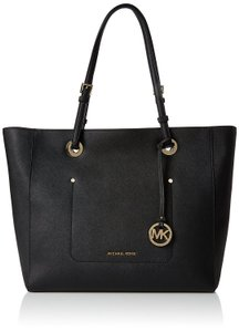 Michael Kors Walsh Leather Saffiano Leather Tote in Black