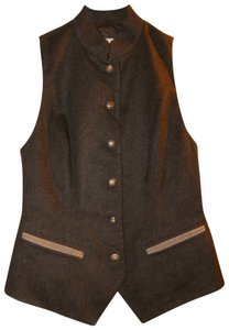 Wathne Wool Lined Raised Collar Signature Buttons Sleeveless Vest