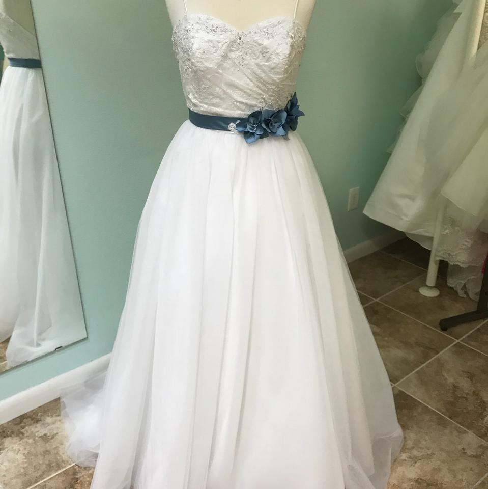 Alfred Angelo White and Blue Sash Tulle 2446 Traditional Wedding ...