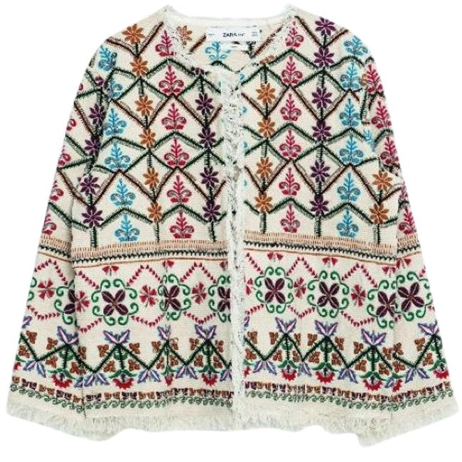 Zara Ivory Floral Beaded & Embroidered Fringe Jacket Size 8 (M) Zara Ivory Floral Beaded & Embroidered Fringe Jacket Size 8 (M) Image 1