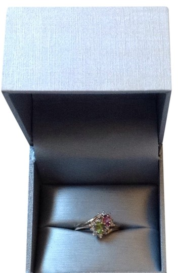 Other Pink Tourmaline And Peridot Surrounded By Diamonds 14k Gold Ring