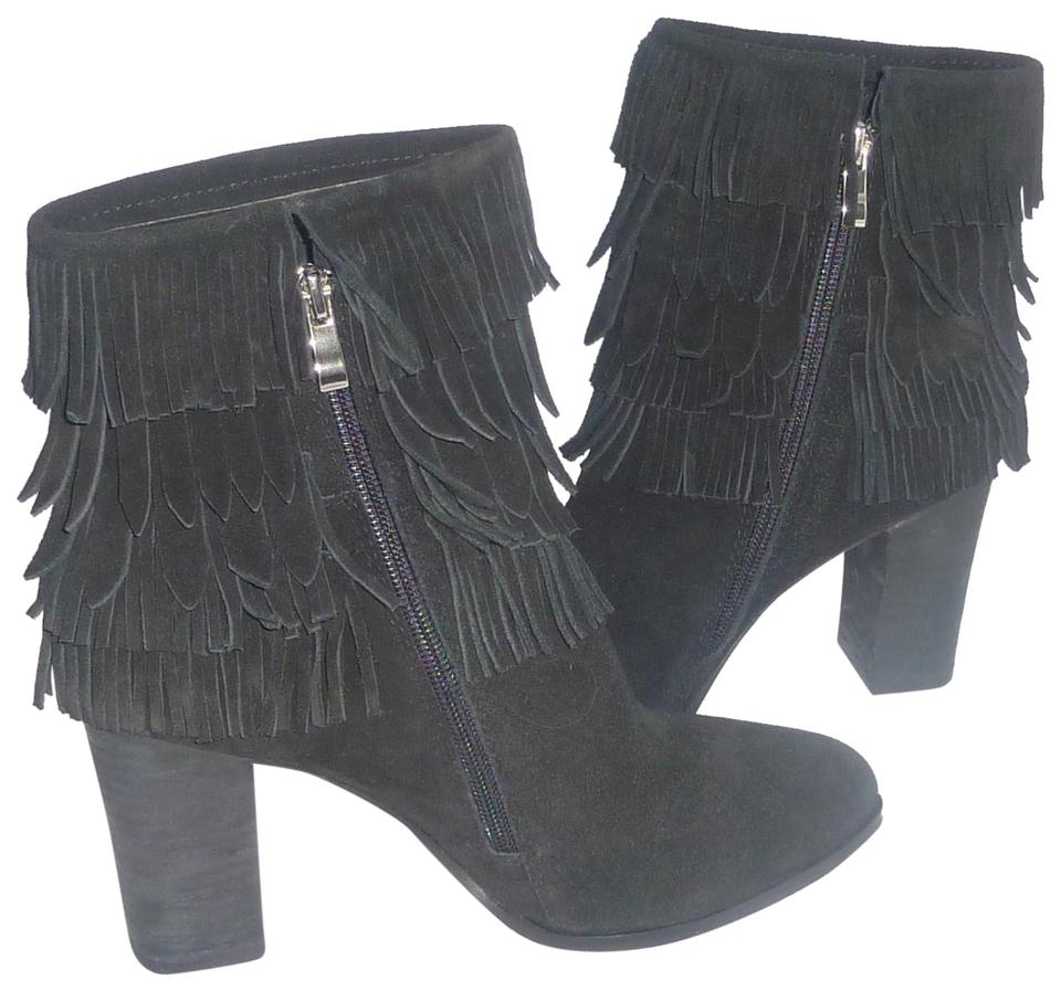 Catherine Malandrino Black New Ankle Fringe Women's Ankle New Boots/Booties 63ddb4