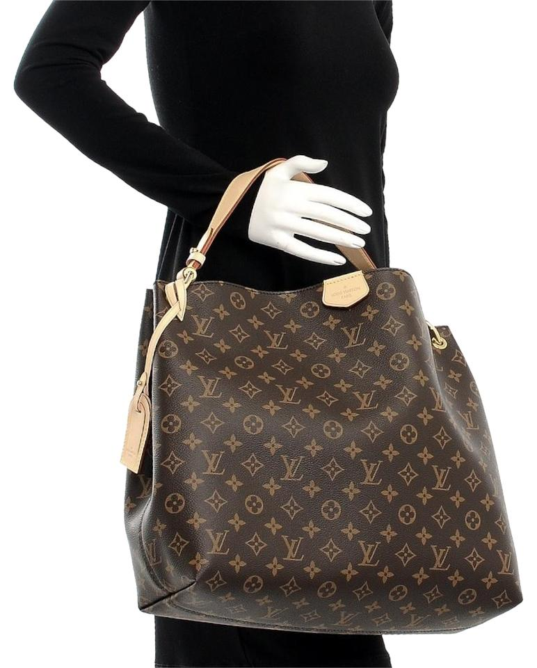 f0b5b7bbc43e Louis Vuitton Graceful Mm Brown Beige Monogram Leather Canvas Hobo ...