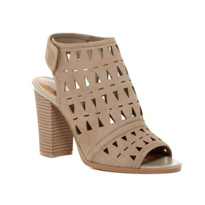 14th & Union Suede Stacked Block Heel Ankle Strap Open Toe Taupe Sandals
