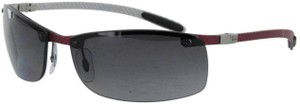 Ray-Ban RAY-BAN TECH POLARIZED CARBON RED RIMLESS SUNGLASSES RB 8305