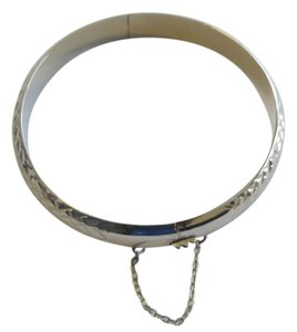 Technibond Technibond .925 Sterling Silver Platinum Plated Diamond Cut Bangle Bracelet with Hanging Chain Size 7.5 Inch