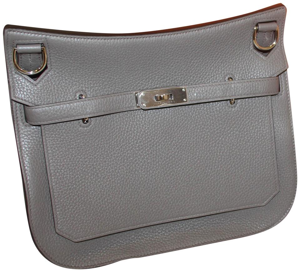 baf6084d2a Hermès Jypsiere New Etain Clemence 28 Messenger Grey Leather Cross ...