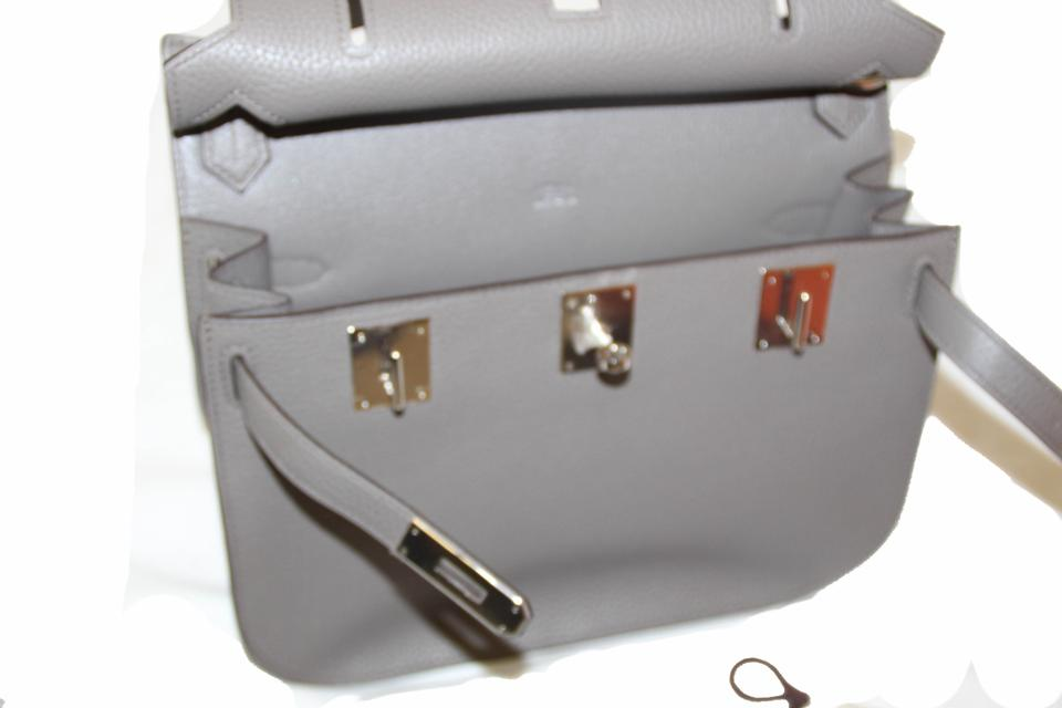 2e8ad1826e Hermès Jypsiere New Etain Clemence 28 Messenger Grey Leather Cross Body Bag  - Tradesy