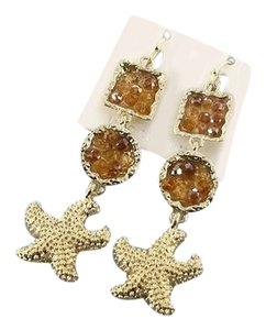 Mirabella Starfish Gold Tone Drop Dangle Crystal Earring