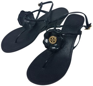 Tory Burch Ankle Strap Hardware Floral Patent Leather Reva Black, Gold Sandals