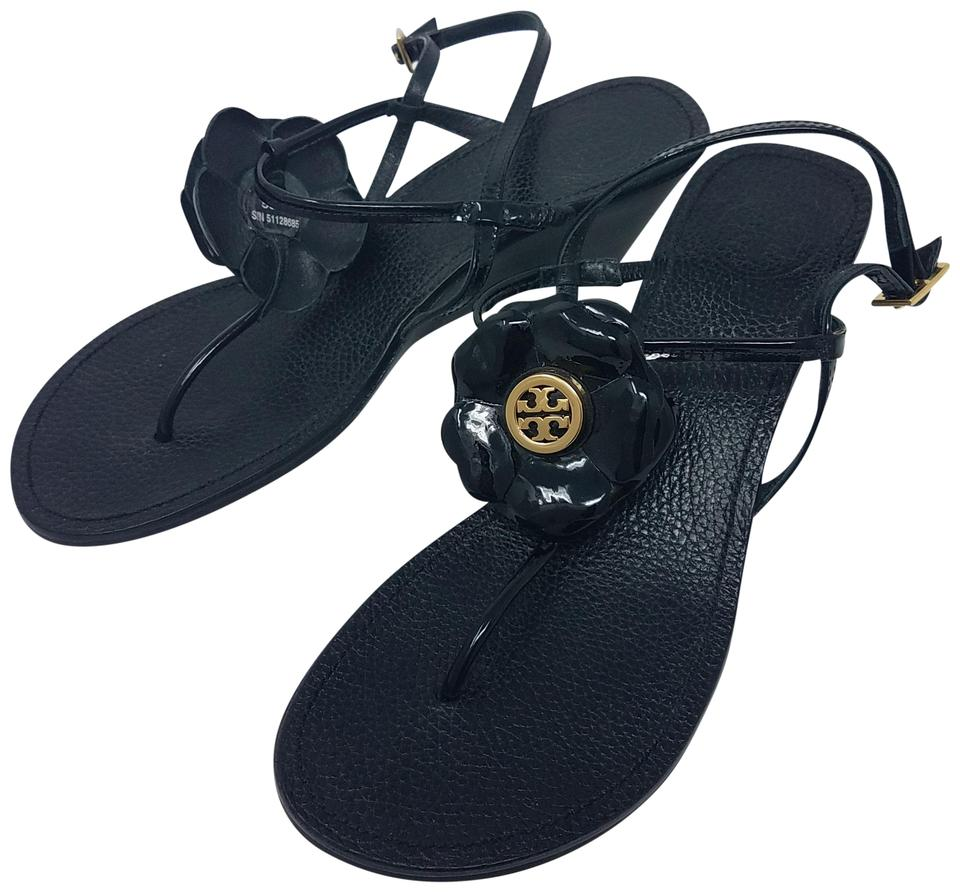 0e17170ae209a8 Tory Burch Black Gold Patent Leather Reva Logo Floral Sandals Size ...