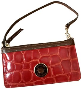 Dooney & Bourke Leather Designer Wristlet in NWT Red with brown trim
