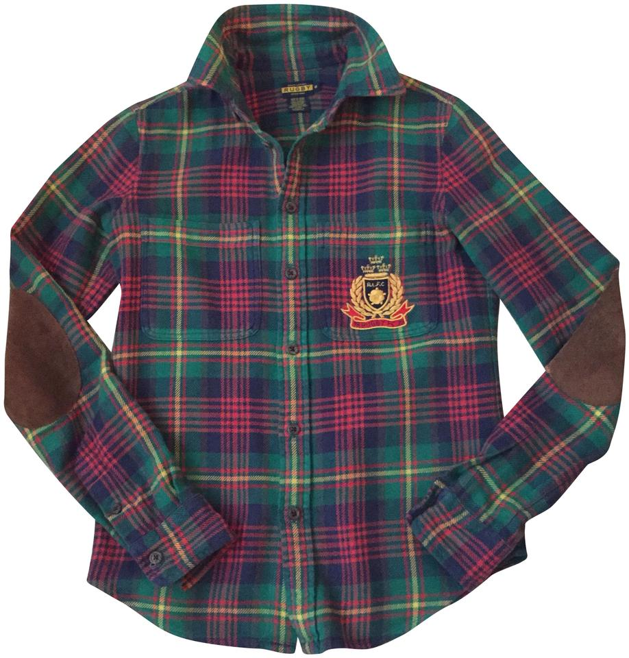 3104c12a82 Rugby Ralph Lauren Green Plaid Flannel Shirt with Crest and Suede ...