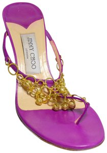 Jimmy Choo Gold Chain Link Thong Box And Dust Bag. Made In Italy Purple Sandals