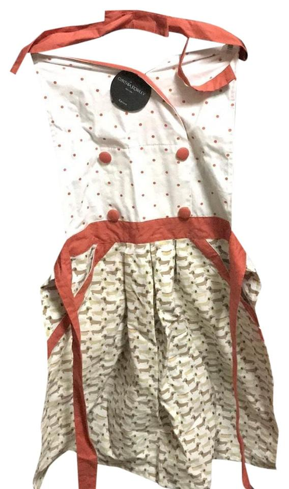 dabc4948fc74fd Cynthia Rowley White Red and Tan Dachshund Apron Mid-length Short ...