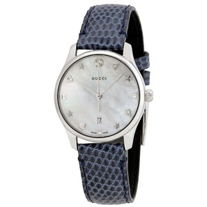 1331616096e Gucci G-Timeless Blue Strap MOP Dial Ladies Leather Watch