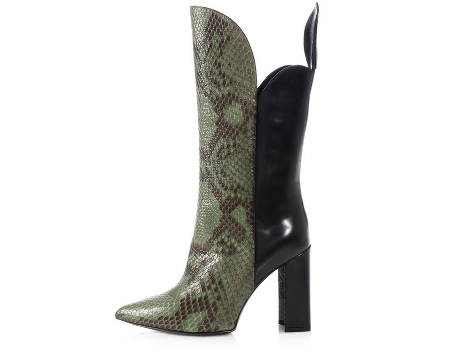 02c32800c0ff Louis Vuitton Lv.l1031.11 Snakeskin Tall Pointed Toe Leather Green Boots  Image 0 ...