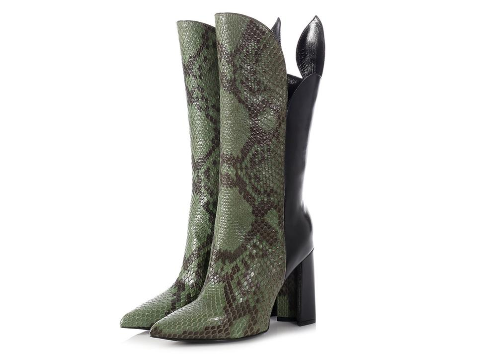 2bdd4d10f922 Louis Vuitton Lv.l1031.11 Snakeskin Tall Pointed Toe Leather Green Boots  Image 6. 1234567