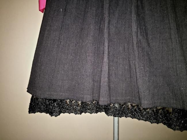 Magaschoni Gauze Circle Lace Trim Skirt black
