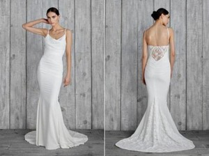 Nicole Miller Antique White Self: 94% Sisal 6% Elastane;combo: 62% Polyester 38% Nylon;lining: 97% Polyester 3% Elastane;lining 2: 68% Nylon 32% Hampton Lace Back Sleeveless Gown Wedding Dress Size 6 (S)