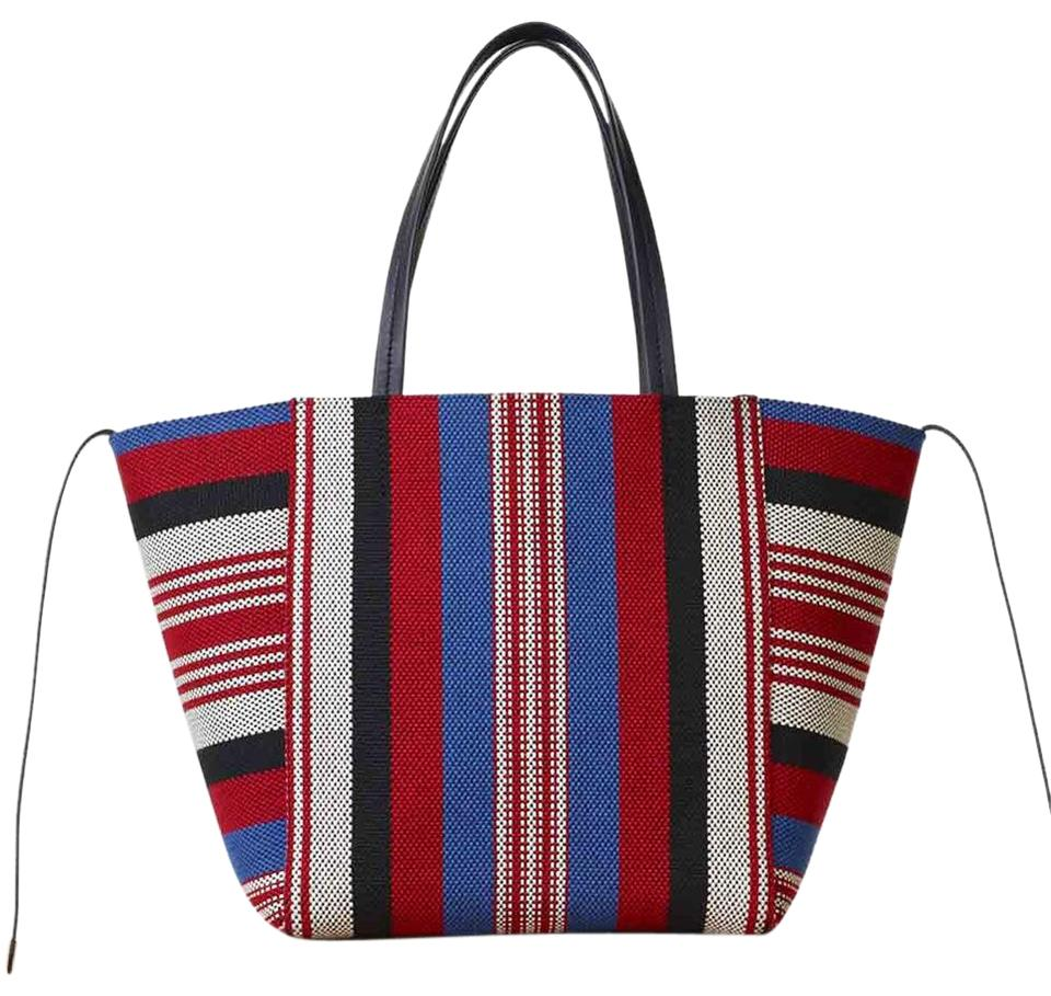 ed30a1e0c2 Céline Cabas Phantom Medium Striped Textile Handbag Red White Blue Woven  Fabric and Leather Tote