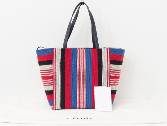 Céline Cabas Striped Phantom Tote In Red White Blue
