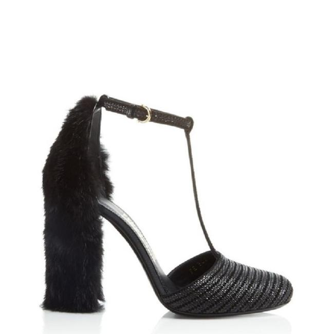 Item - Black Fergie Mink T-strap Pumps Size EU 37 (Approx. US 7) Regular (M, B)