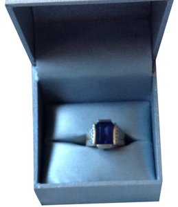 Unknown Unisex Iolite And Diamond Ring In 14 Gold