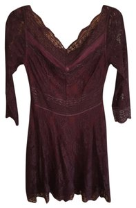 Free People short dress maroon Lace on Tradesy