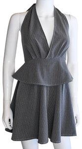 Lisa Nieves Grey stretch cotton pinstripe romper