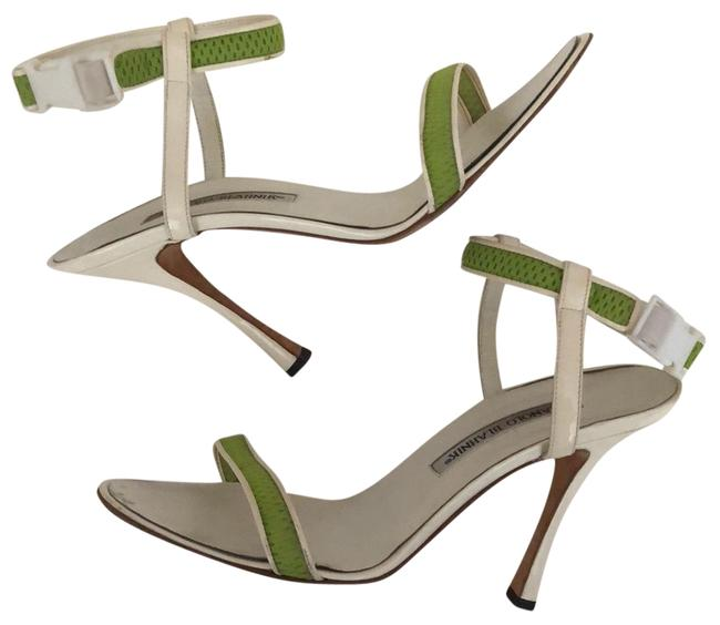 Item - White and Green Ankle Strap Sandals Size EU 38 (Approx. US 8) Regular (M, B)