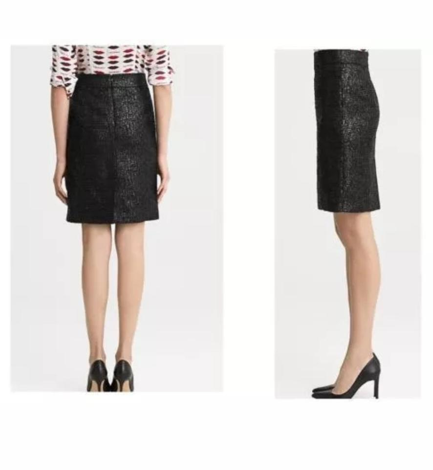 73248f668 Banana Republic Metallic Finish L'wren Scott Shimmery Pencil Skirt Black  Image 5. 123456