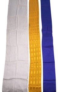 Other 100% Silk 3 Scarf Set; Silk Jacquard in Royal Blue, Golden Yellow and Snow-White [ Roxanne Anjou Closet ]