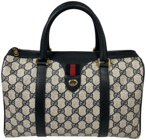 Gucci Boston Vintage Speedy Navy Signature Satchel