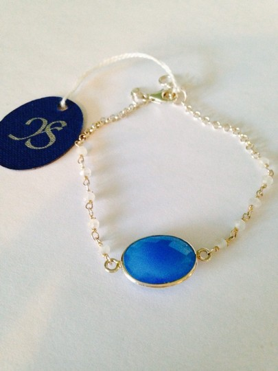 JS Collections NWT Faceted Blue & White Chalcedony Gemstone In Sterling Silver Bracelet